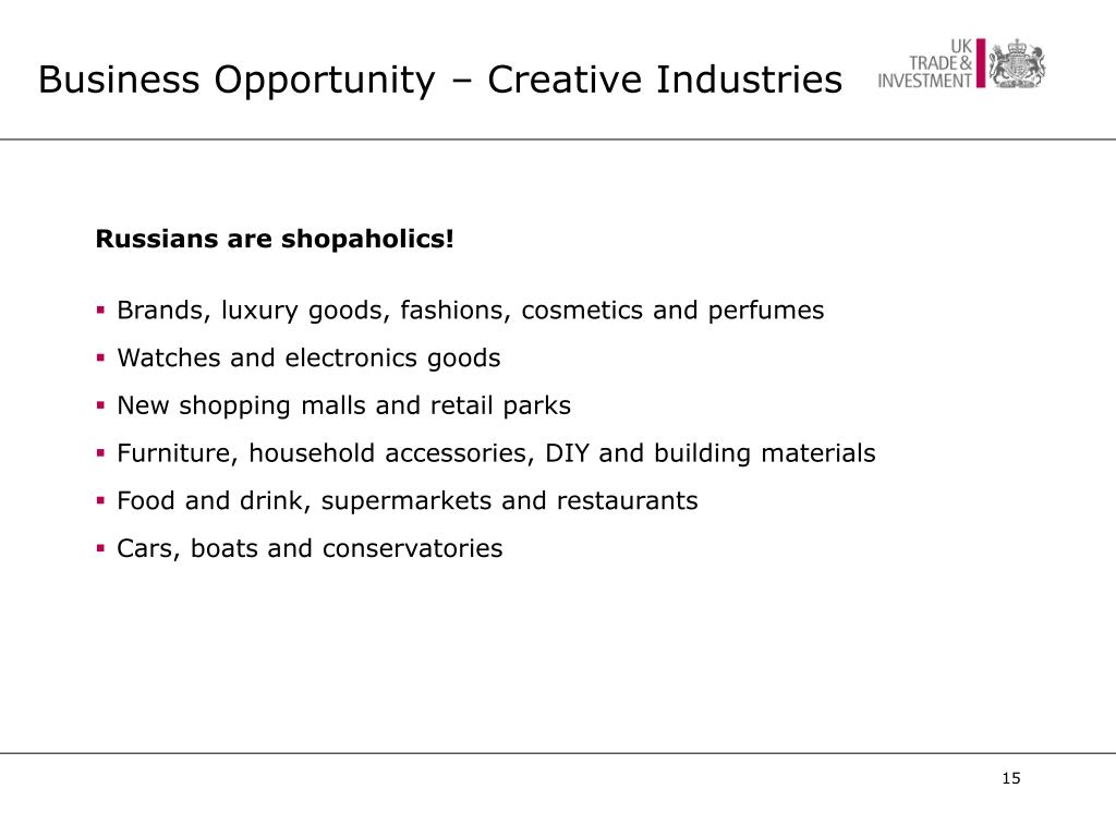 Business Opportunity – Creative Industries