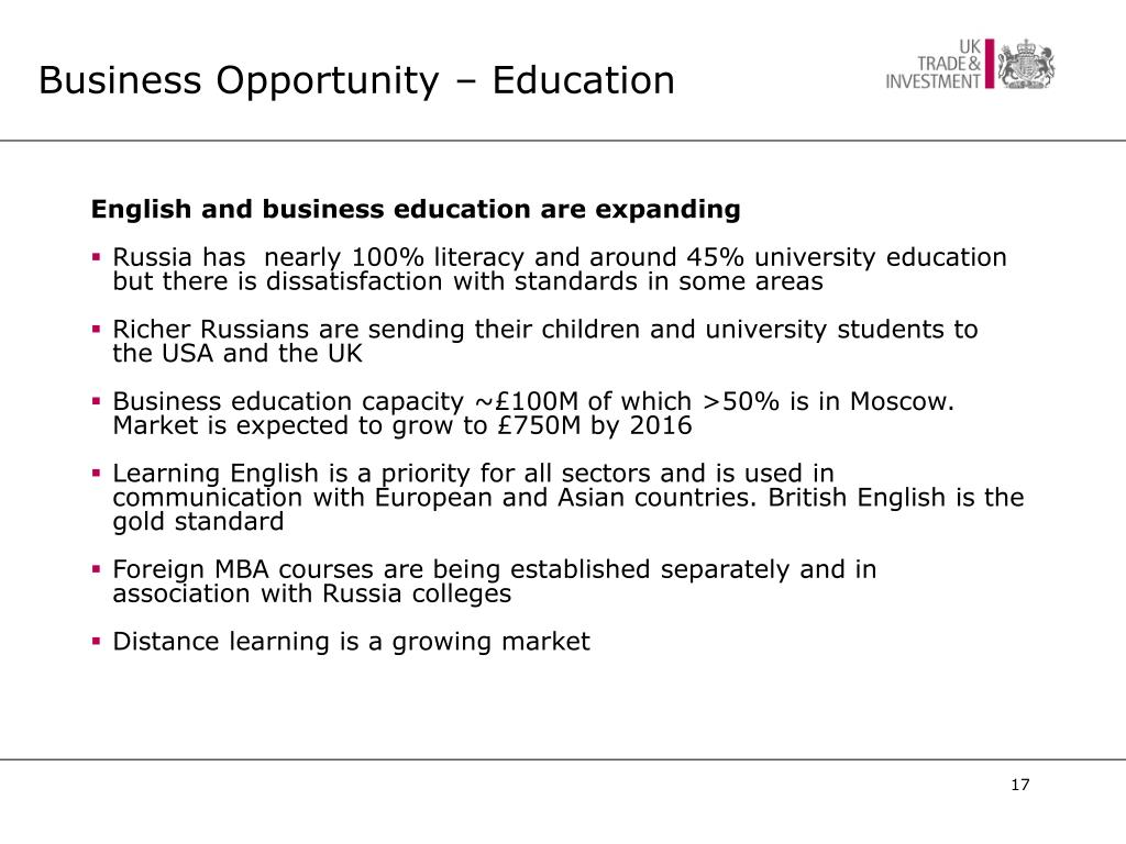 Business Opportunity – Education