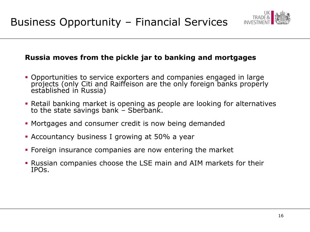 Business Opportunity – Financial Services