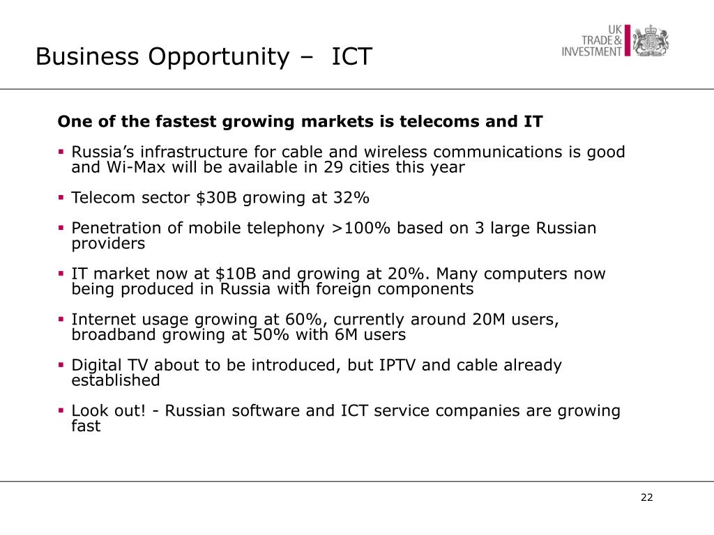 Business Opportunity –  ICT