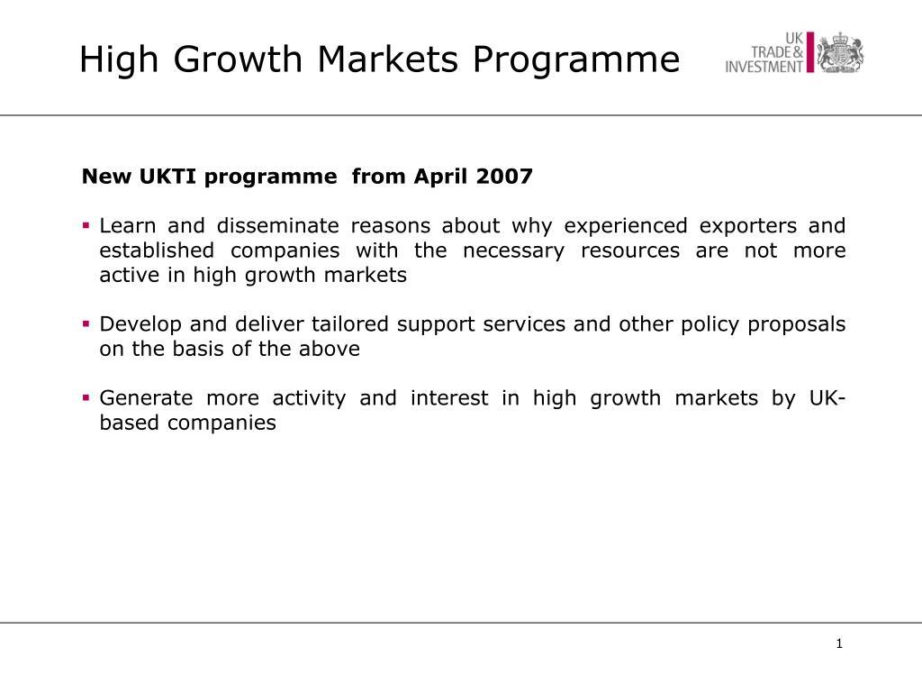 high growth markets programme