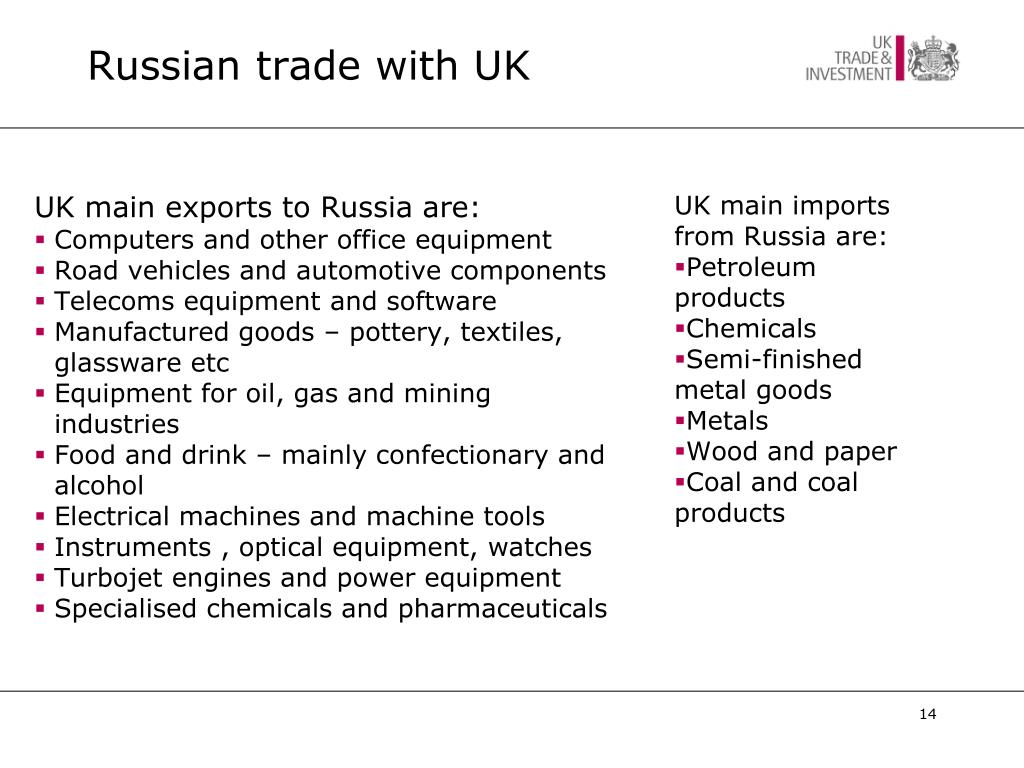 Russian trade with UK