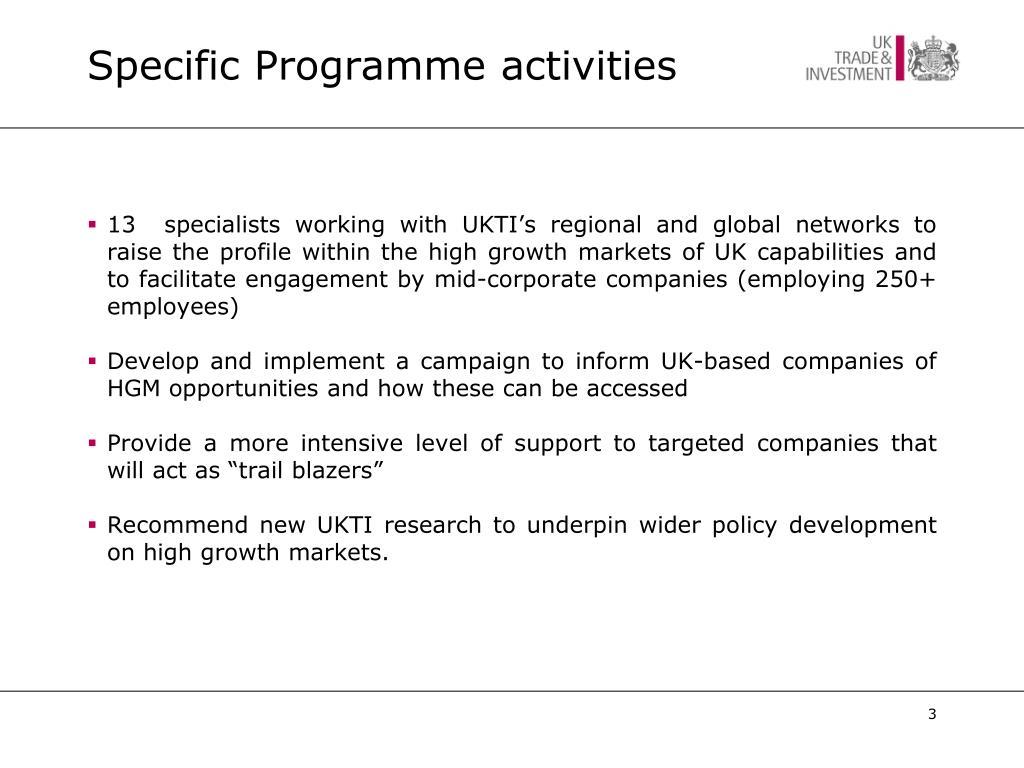 Specific Programme activities