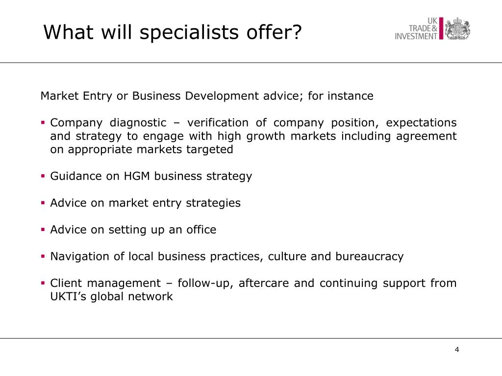What will specialists offer?