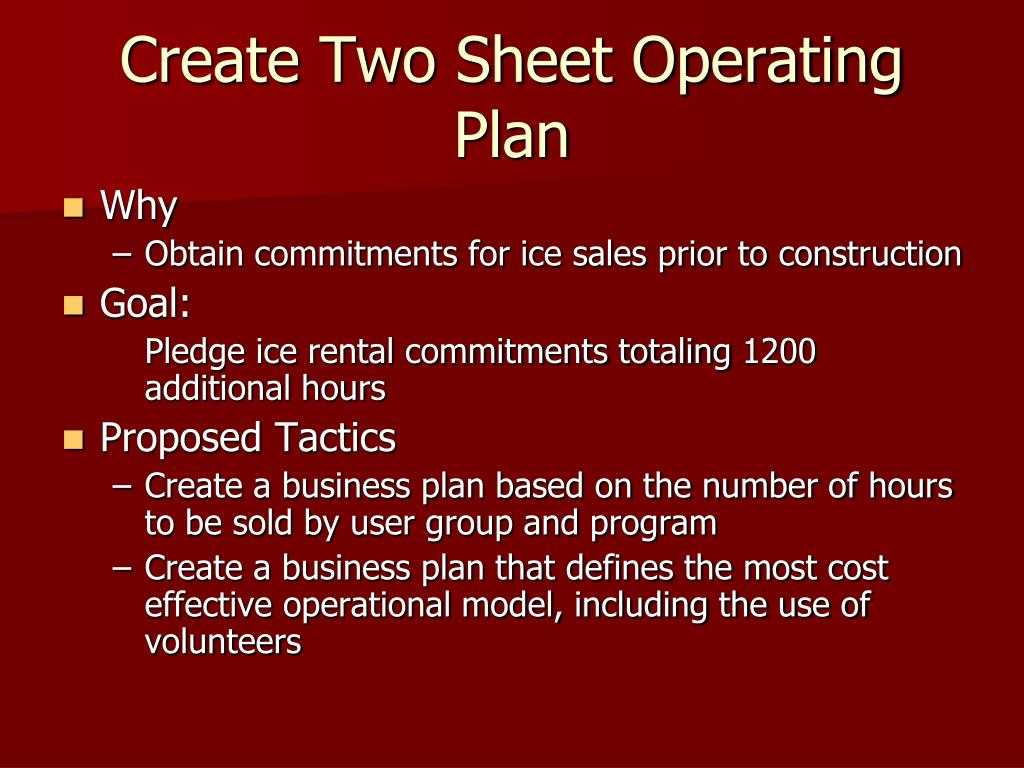Create Two Sheet Operating Plan