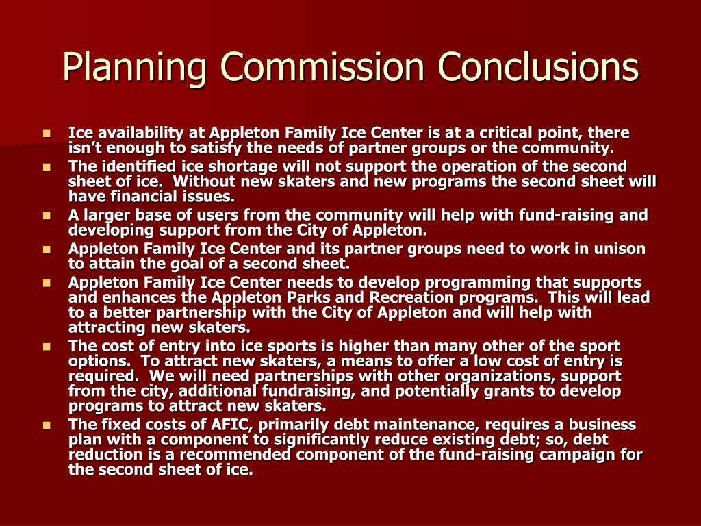 Planning Commission Conclusions