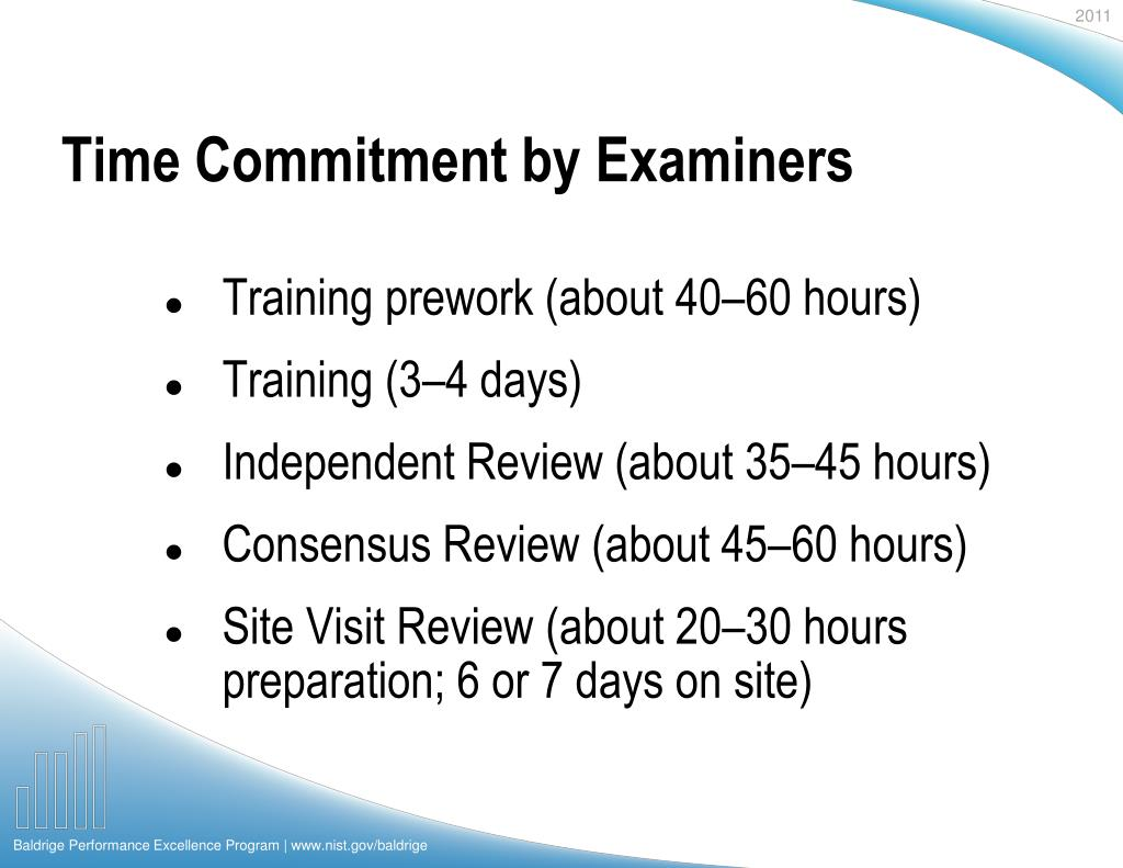 Time Commitment by Examiners