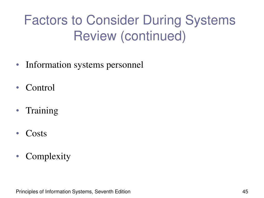 Factors to Consider During Systems Review (continued)