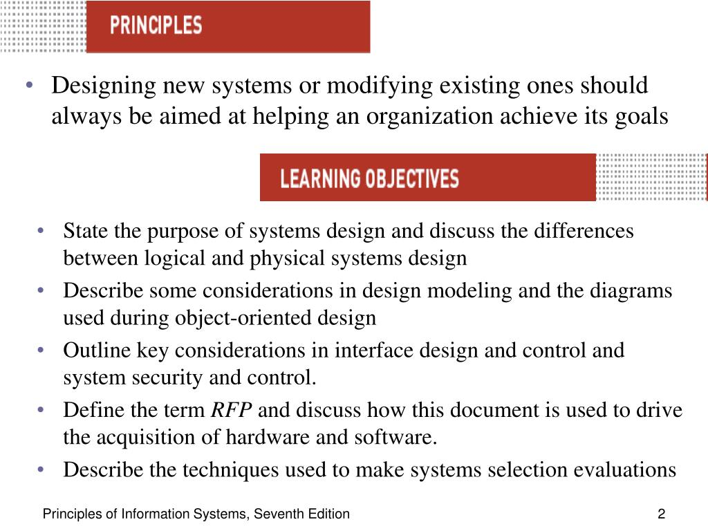 Designing new systems or modifying existing ones should always be aimed at helping an organization achieve its goals