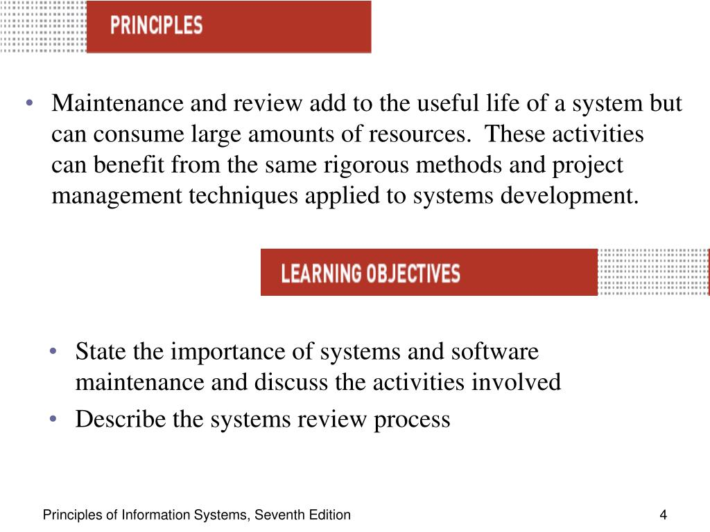 Maintenance and review add to the useful life of a system but can consume large amounts of resources.  These activities can benefit from the same rigorous methods and project management techniques applied to systems development.