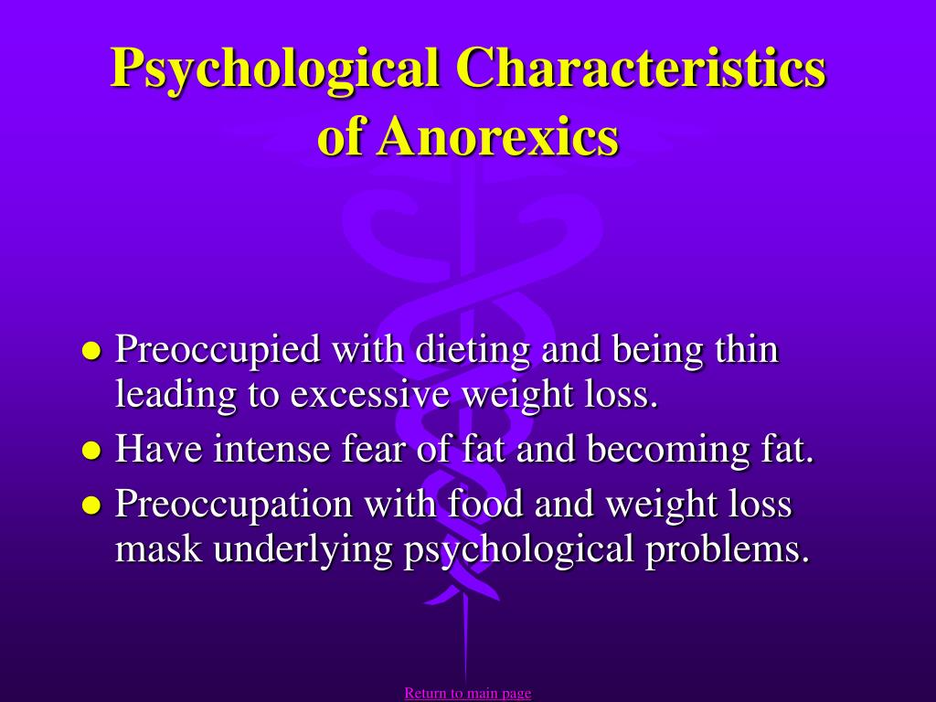 Psychological Characteristics of Anorexics