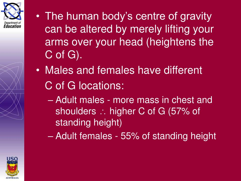 The human body's centre of gravity can be altered by merely lifting your arms over your head (heightens the C of G).