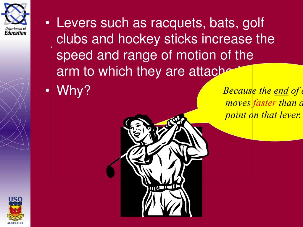 Levers such as racquets, bats, golf clubs and hockey sticks increase the speed and range of motion of the arm to which they are attached.