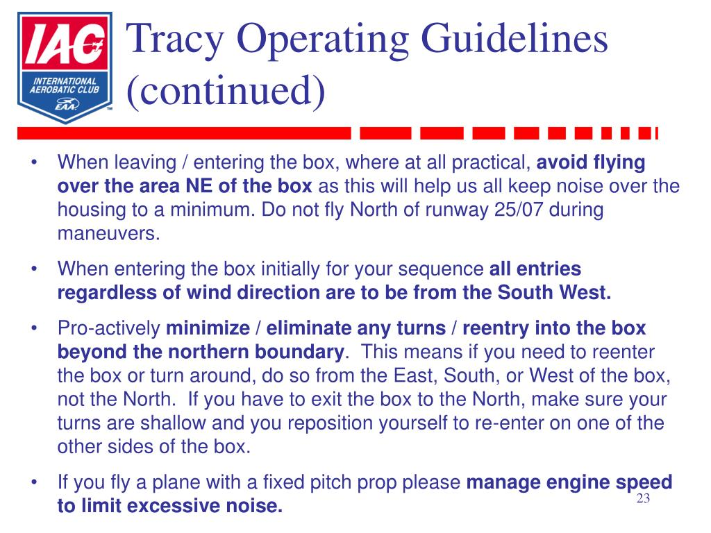 Tracy Operating Guidelines (continued)