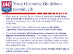 tracy operating guidelines continued