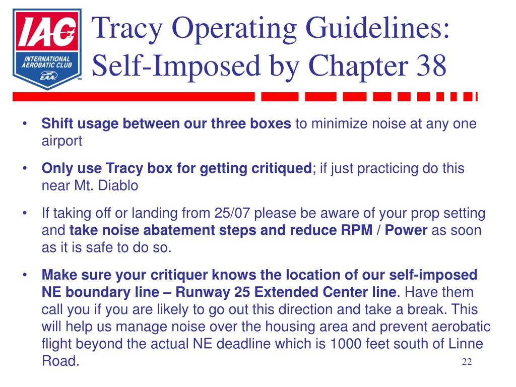 Tracy Operating Guidelines: Self-Imposed by Chapter 38