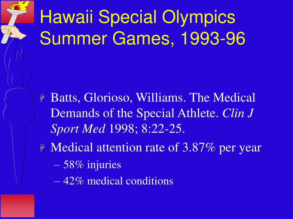 Hawaii Special Olympics Summer Games, 1993-96