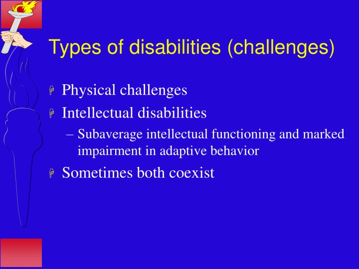Types of disabilities challenges