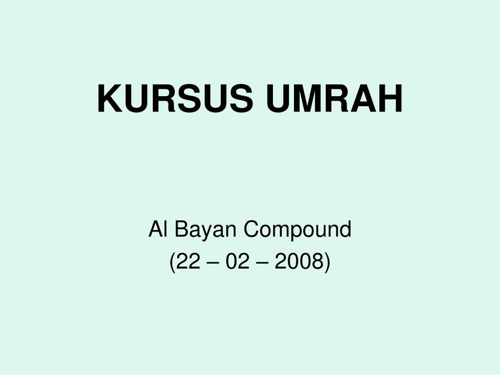 KURSUS UMRAH