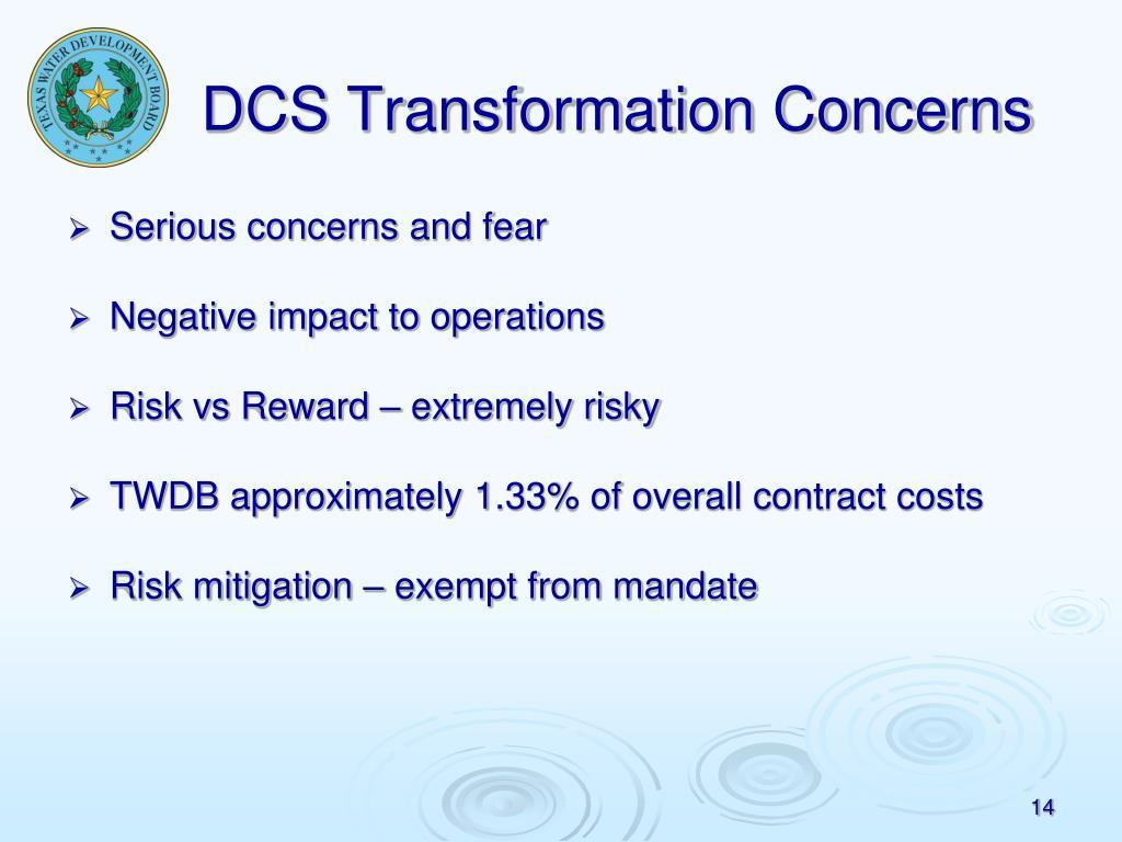 DCS Transformation Concerns