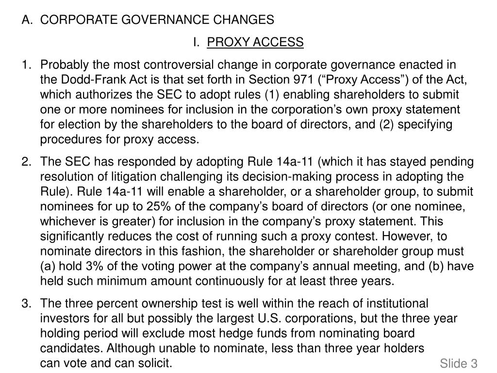 A.	CORPORATE GOVERNANCE CHANGES