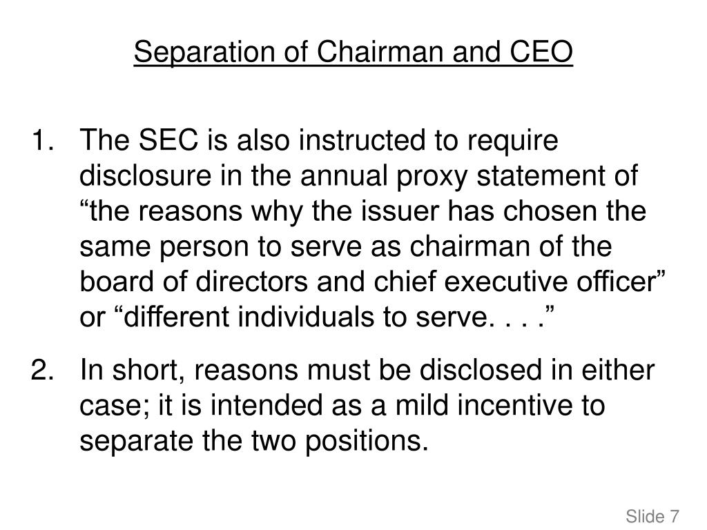 Separation of Chairman and CEO