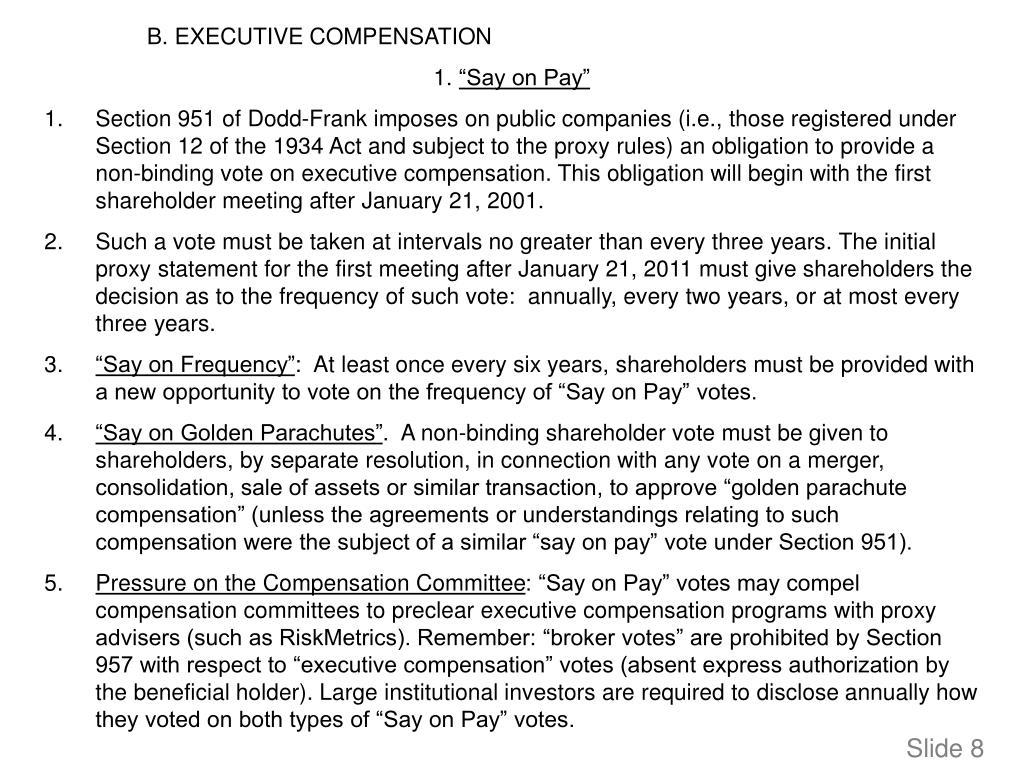 B. EXECUTIVE COMPENSATION
