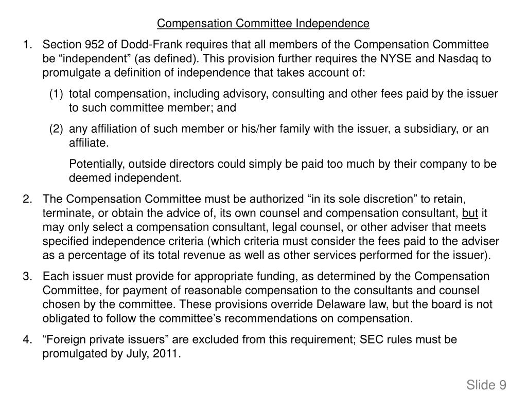 Compensation Committee Independence