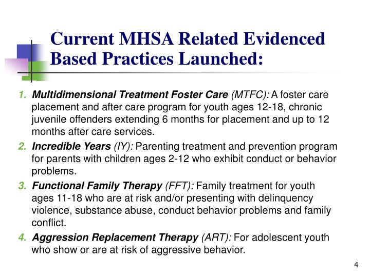 Current MHSA Related Evidenced