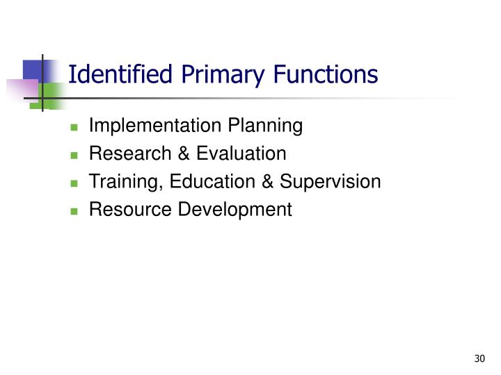 Identified Primary Functions