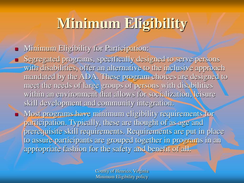 Minimum Eligibility