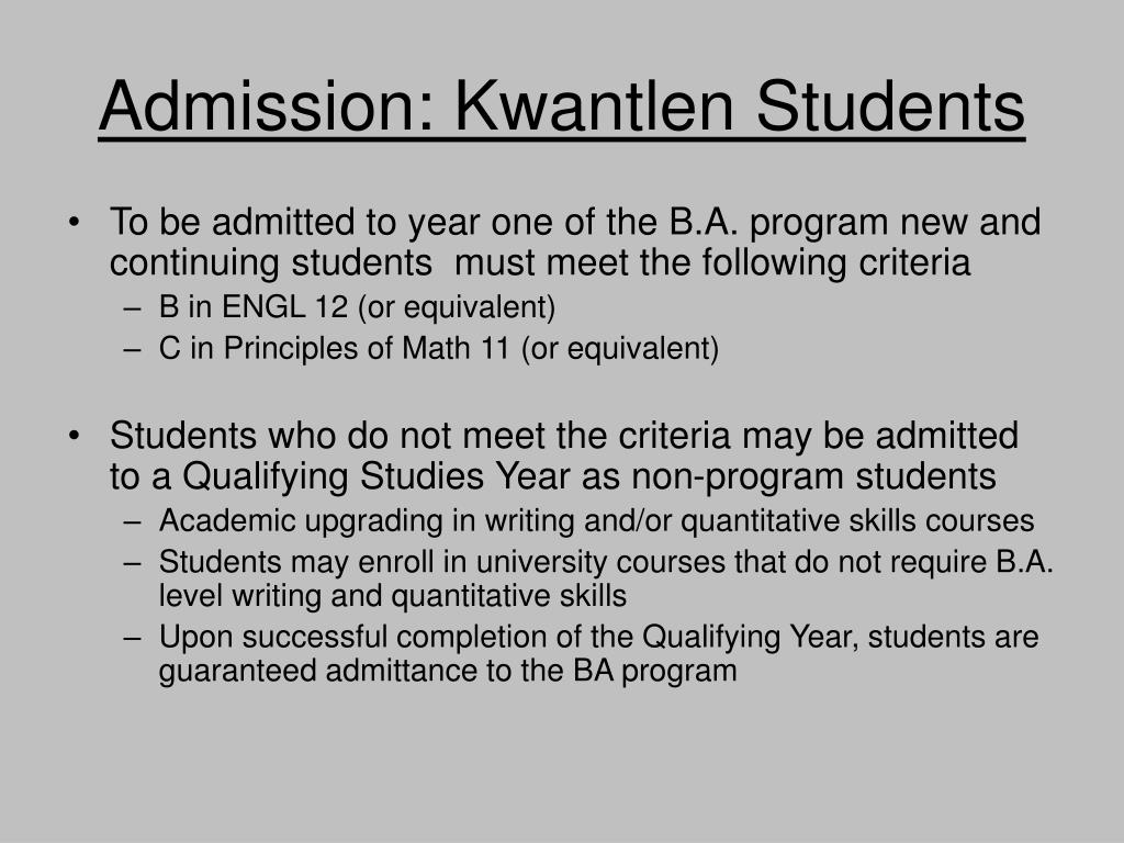 Admission: Kwantlen Students