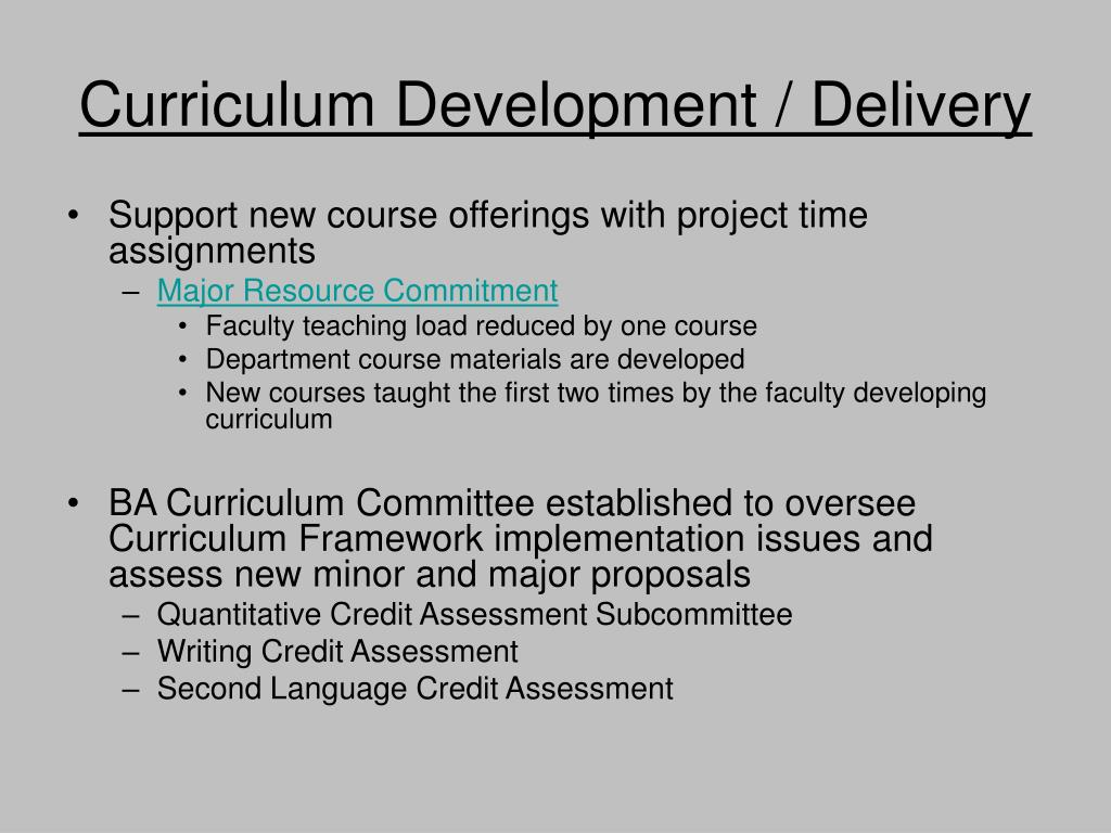 Curriculum Development / Delivery