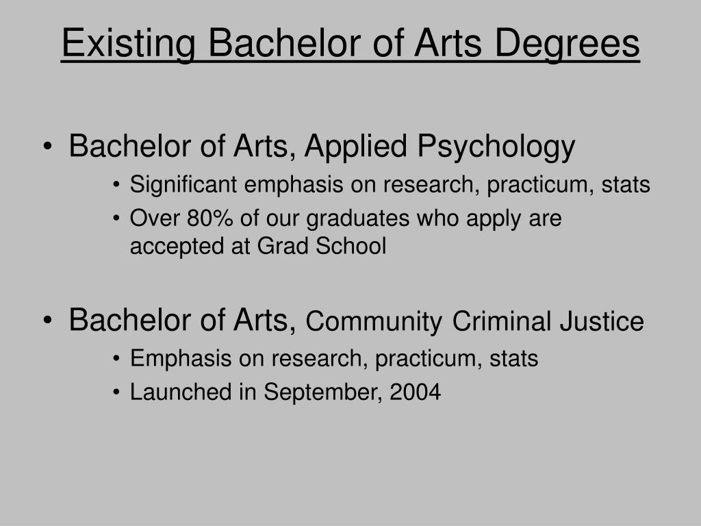 Existing Bachelor of Arts Degrees