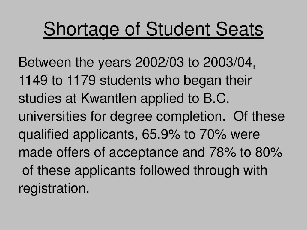 Shortage of Student Seats