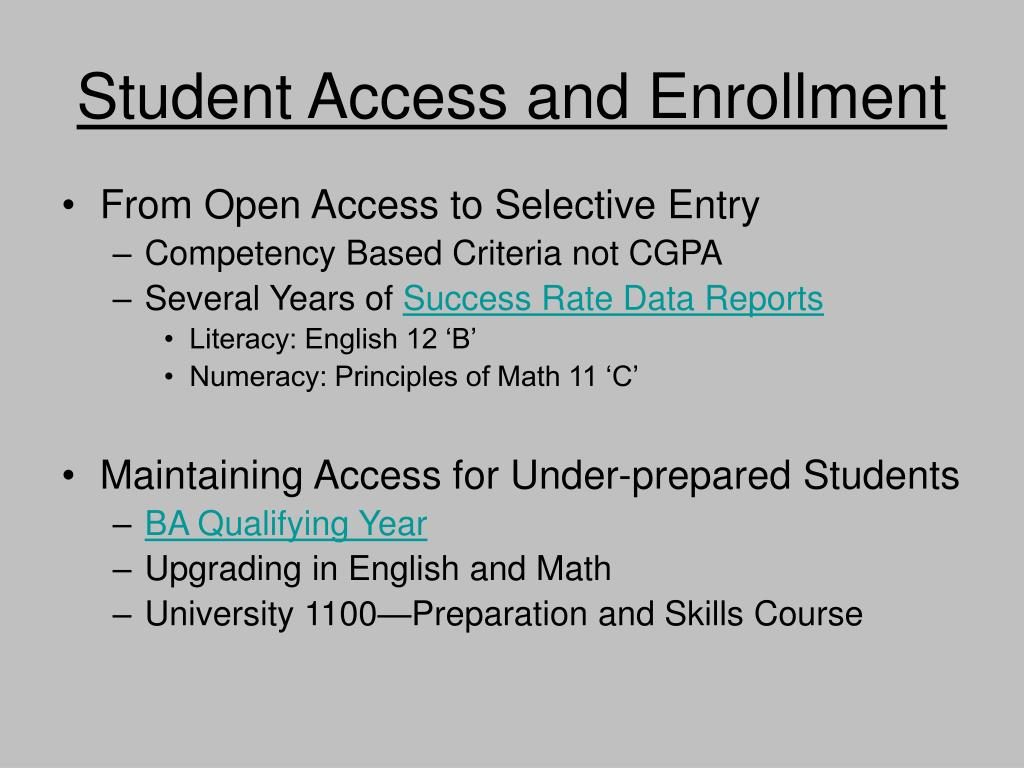 Student Access and Enrollment