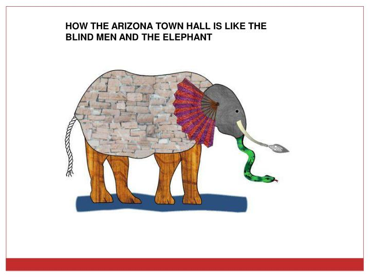 HOW THE ARIZONA TOWN HALL IS LIKE THE BLIND MEN AND THE ELEPHANT
