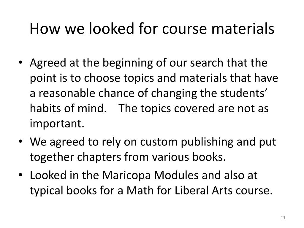 How we looked for course materials