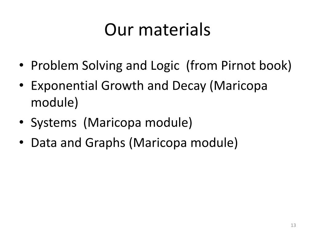 Our materials
