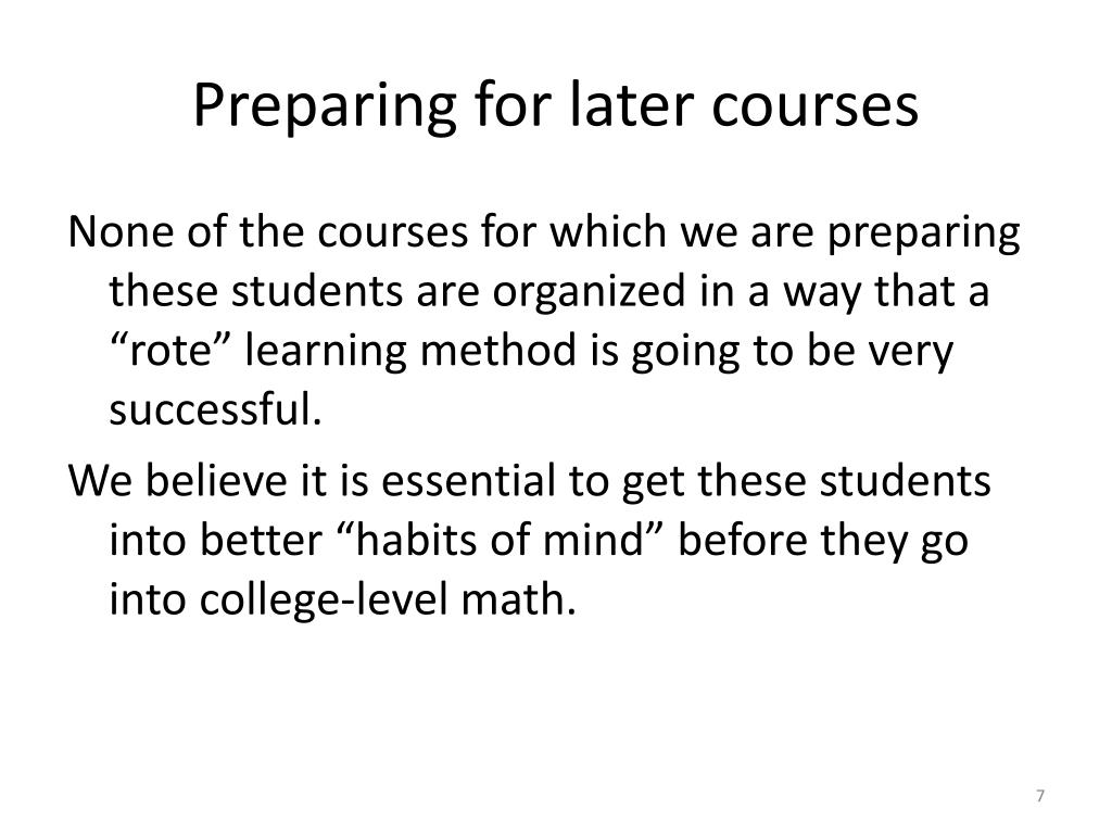 Preparing for later courses