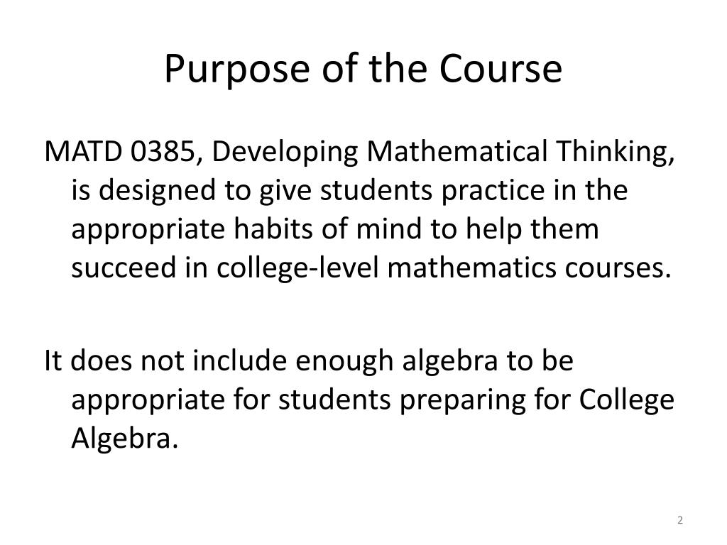 Purpose of the Course