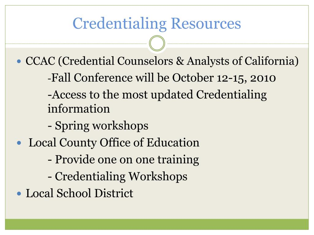 Credentialing Resources