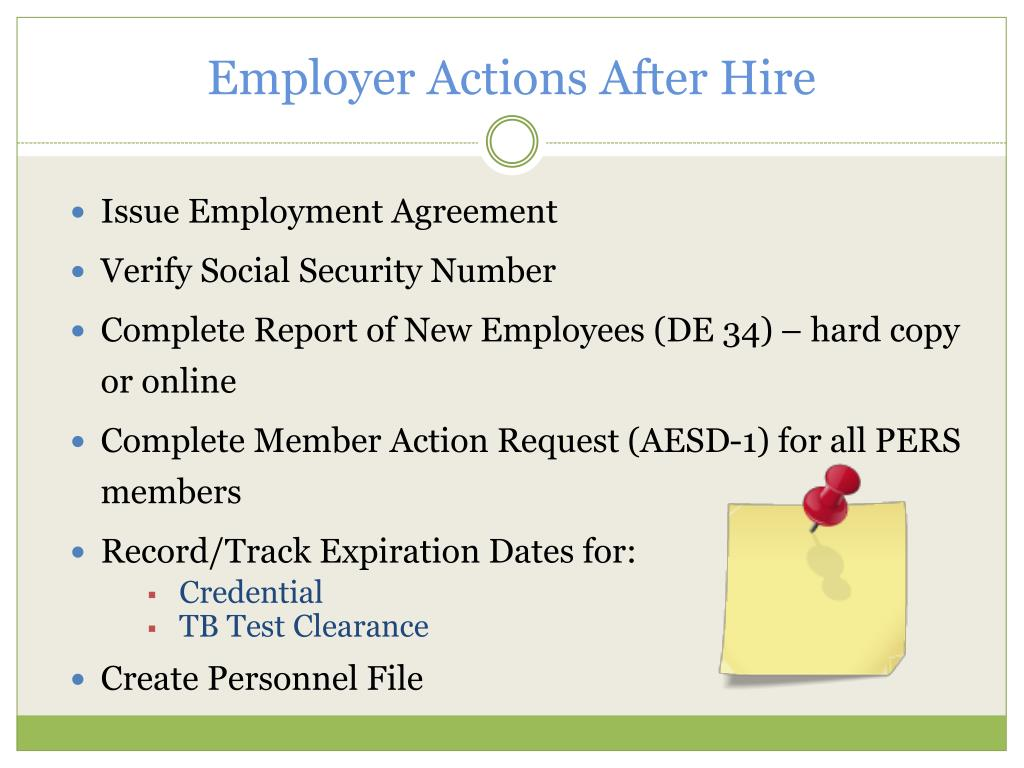 Employer Actions After Hire