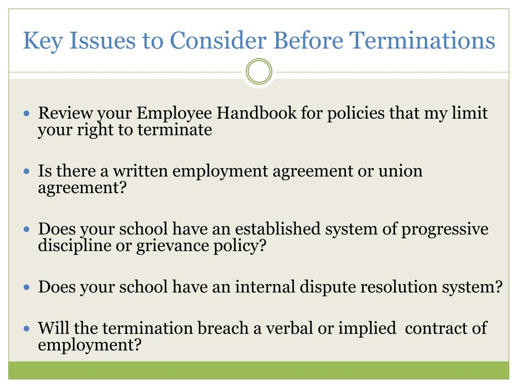 Key Issues to Consider Before Terminations