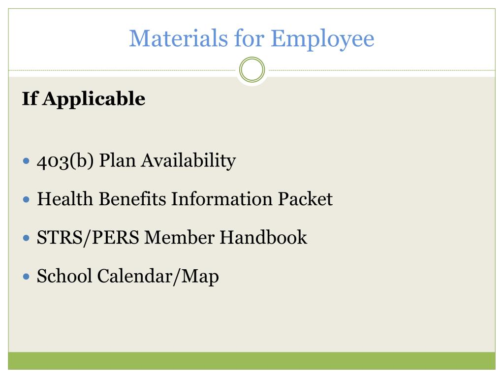 Materials for Employee