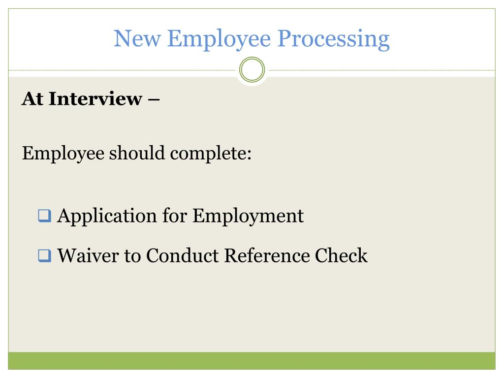 New Employee Processing