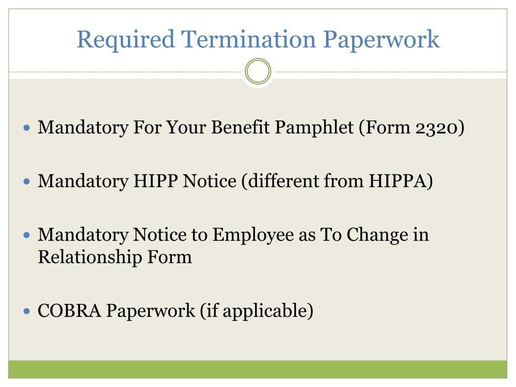 Required Termination Paperwork