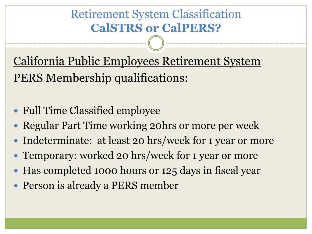 Retirement System Classification