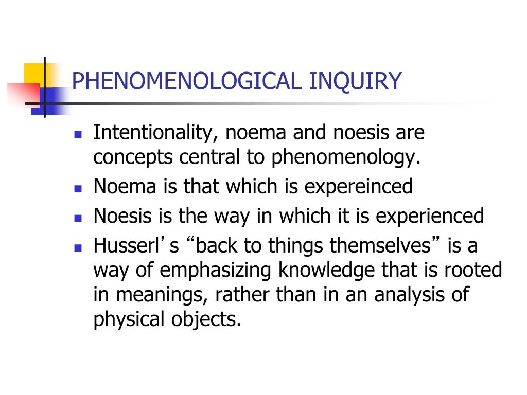 phenomenological inquiry Coaching and training transfer: a phenomenological inquiry into combined  training-coaching programmes linda spencer, linda spencer consulting,  kingston.