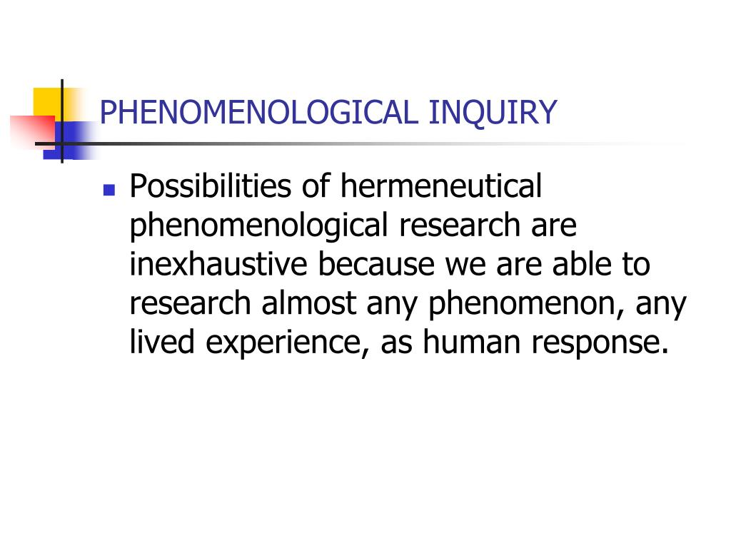 phenomenological inquiry Read 7 answers by scientists with 26 recommendations from their colleagues to the question asked by pamela saunders on mar 30, 2016.